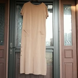 J. Jill sz. L tan short sleeve tencel shift dress